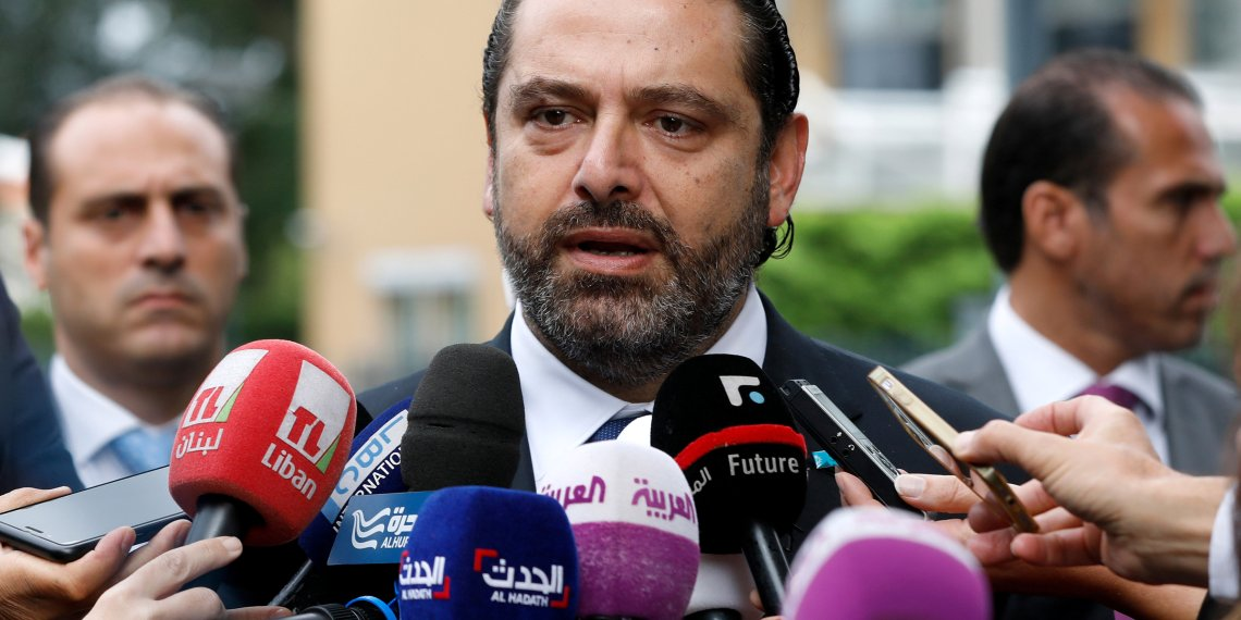 Lebanese Prime Minister-designate Saad al-Hariri speaks to the media in front of the Special Tribunal for Lebanon ahead of the closings arguments in the trial of Lebanon's Rafik al-Hariri alleged killers in the Hague, the Netherlands September 11, 2018. Bas Czerwinski/Pool via REUTERS