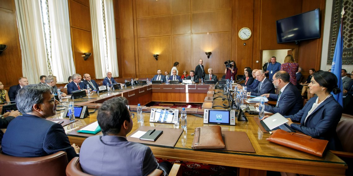 Iran's Deputy Foreign Minister Hossein Jaberi Ansari, Russia's special envoy on Syria Alexander Lavrentiev, Turkish Deputy Foreign Minister Sedat Onal, and U.N. Special Envoy for Syria Staffan de Mistura attend a meeting during consultations on Syria at the European headquarters of the United Nations in Geneva, Switzerland September 11, 2018. Salvatore Di Nolfi/Pool via REUTERS