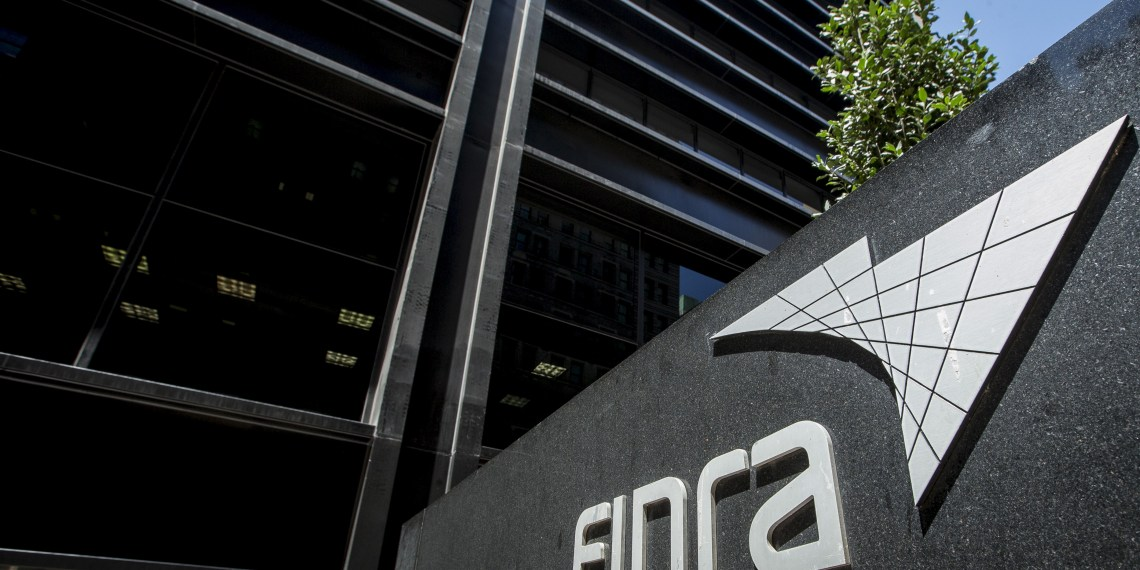 A sign for the Financial Industry Regulatory Authority (FINRA) is seen outside the offices in New York's financial district July 22, 2015. REUTERS/Brendan McDermid/File Photo