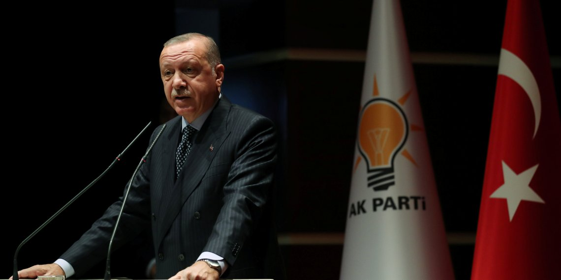 Turkish President Tayyip Erdogan makes a speech during a meeting with his ruling AK Party officials in Ankara, Turkey September 14, 2018. Cem Oksuz/Presidential Palace/Handout via REUTERS