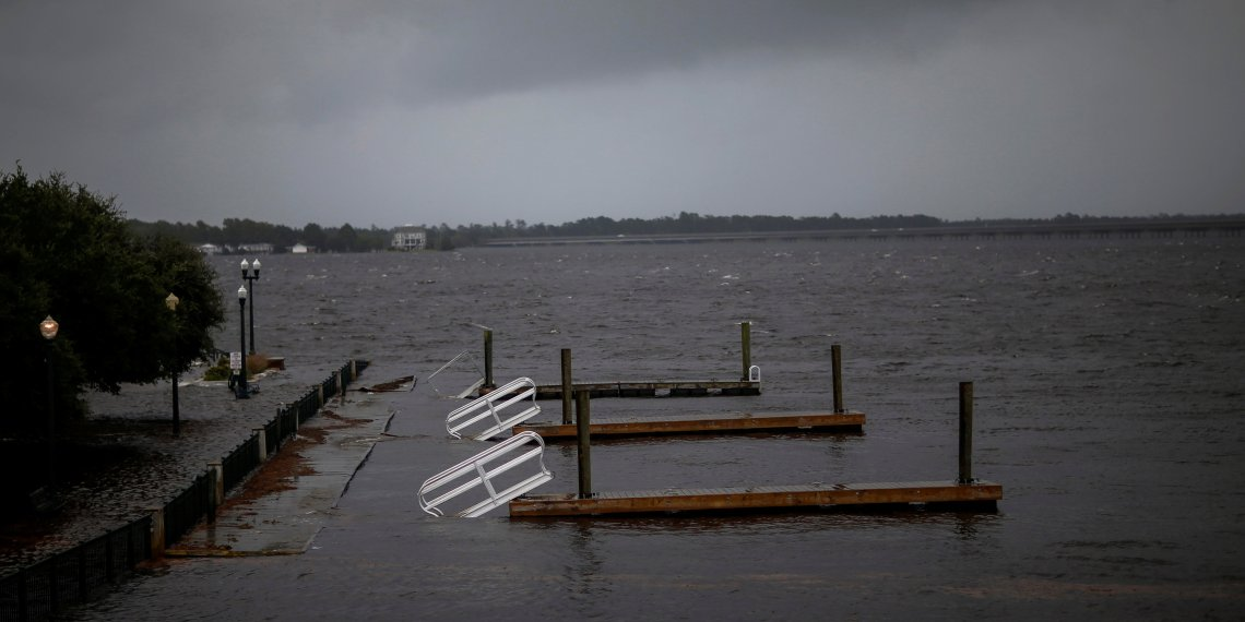 Docks broken by water from Neuse River are seen floating as Hurricane Florence comes ashore in New Bern, North Carolina, U.S., September 13, 2018. REUTERS/Eduardo Munoz