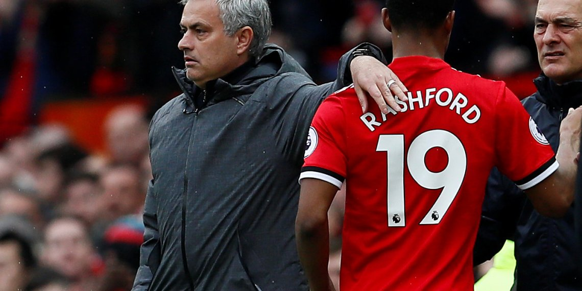 Premier League - Manchester United vs Liverpool - Old Trafford, Manchester, Britain - March 10, 2018 Manchester United manager Jose Mourinho with Marcus Rashford as he is substituted Action Images via Reuters/Jason Cairnduff