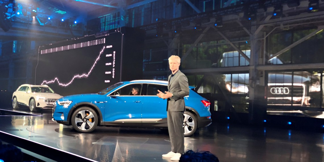Audi of America President Scott Keogh introduces the German luxury brand's first all-electric production vehicle, the e-tron sport utility vehicle at an event in Richmond, California, U.S. September 17, 2018. REUTERS/Joe White
