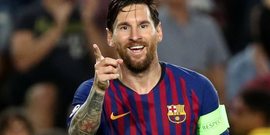 Soccer Football - Champions League - Group Stage - Group B - FC Barcelona v PSV Eindhoven - Camp Nou, Barcelona, Spain - September 18, 2018 Barcelona's Lionel Messi celebrates scoring their fourth goal to complete his hat-trick REUTERS/Sergio Perez