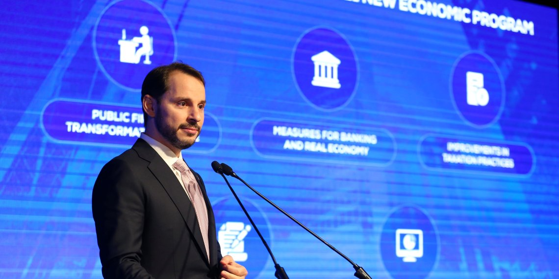 Turkish Treasury and Finance Minister Berat Albayrak speaks during a presentation to announce medium-term economic programme in Istanbul, Turkey September 20, 2018. Mehmet Acar/Presidential Press Office/Handout via REUTERS