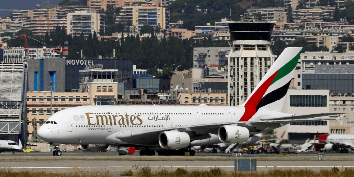 FILE PHOTO - An Emirates Airbus A380-800 plane is seen at Nice International airport in Nice, France, September 19, 2018. REUTERS/Eric Gaillard