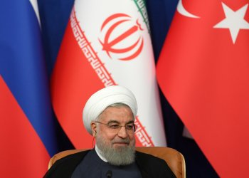 FILE PHOTO: Iranian President Hassan Rouhani attends a news conference with President Tayyip Erdogan of Turkey and Vladimir Putin of Russia following their meeting in Tehran, Iran September 7, 2018. Kirill Kudryavtsev/Pool via REUTERS