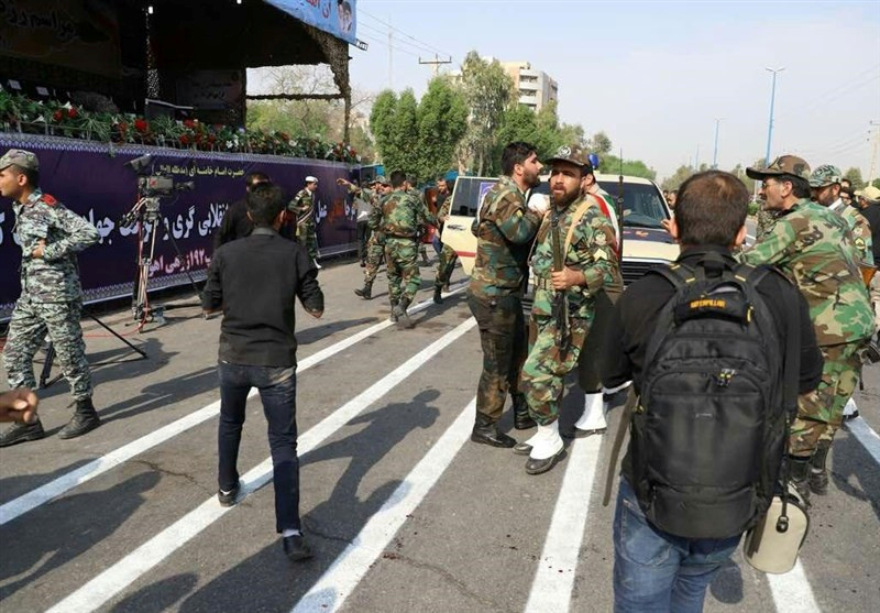 A general view of the attack during the military parade in Ahvaz, Iran September 22, 2018. Tasnim News Agency/via REUTERS ATTENTION EDITORS - THIS PICTURE WAS PROVIDED BY A THIRD PARTY