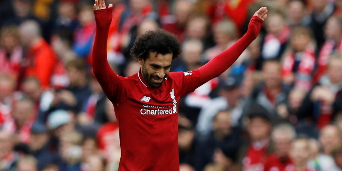 Soccer Football - Premier League - Liverpool v Southampton - Anfield, Liverpool, Britain - September 22, 2018 Liverpool's Mohamed Salah celebrates scoring their third goal REUTERS/Phil Noble