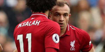 Soccer Football - Premier League - Liverpool v Southampton - Anfield, Liverpool, Britain - September 22, 2018 Liverpool's Xherdan Shaqiri speaks with teammate Mohamed Salah before taking a free-kick Action Images via Reuters/Lee Smith