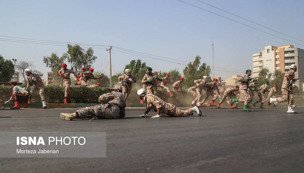 A general view shows an attack on a military parade in Ahvaz, Iran, in this September 22, 2018 photo by ISNA. The photo is watermarked from source. ISNA/Iranian Students' News Agency/Social Media/via REUTERS