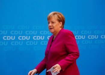 German Chancellor Angela Merkel arrives to give a statement at the CDU headquarters in Berlin, Germany, September 24, 2018. REUTERS/Hannibal Hanschke