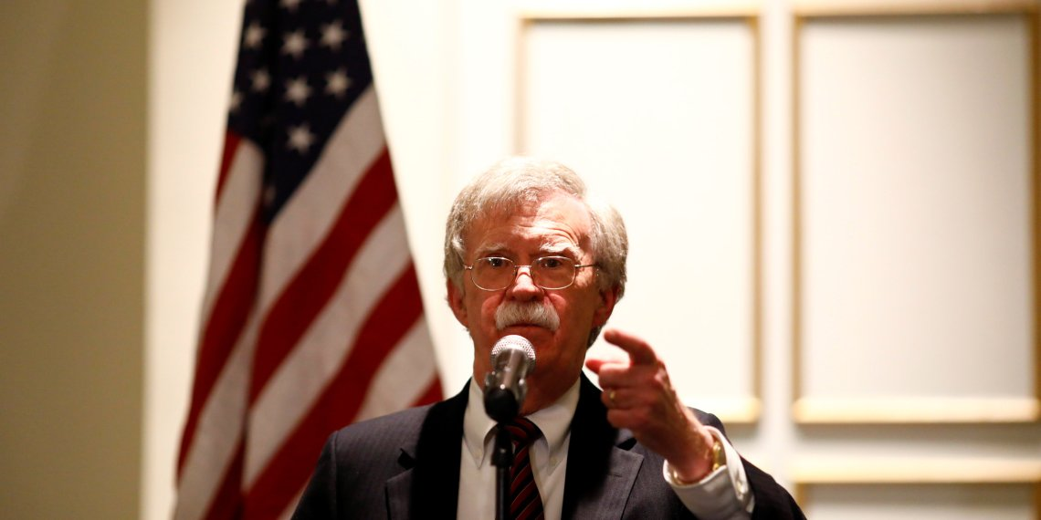 """FILE PHOTO: National Security Adviser John Bolton discusses """"Protecting American Constitutionalism and Sovereignty from International Threats,"""" at a forum hosted by the Federalist Society for Law and Public Policy Studies in Washington, U.S. September 10, 2018. REUTERS/Eric Thayer"""