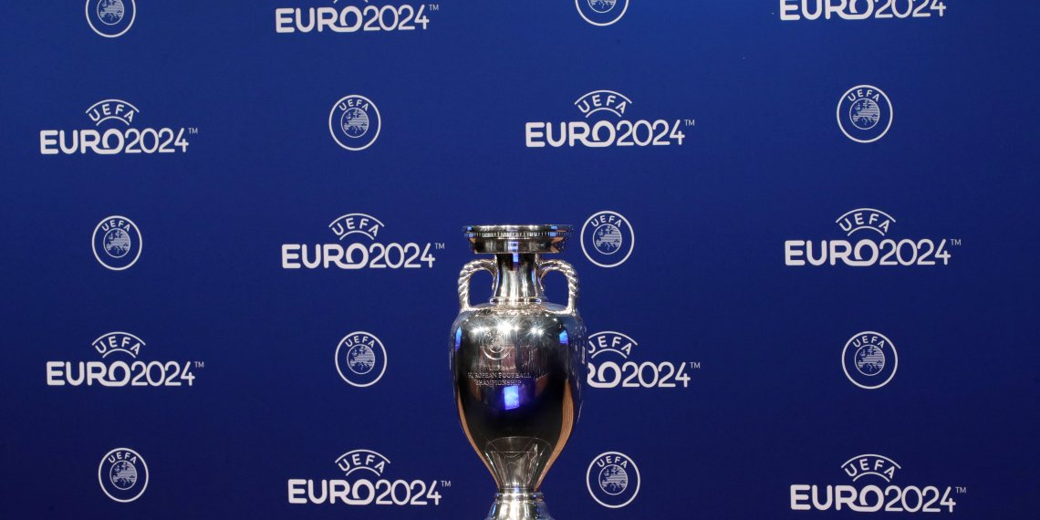 Soccer Football - Euro 2024 Host Announcement - Nyon, Switzerland - September 27, 2018   The UEFA European Championship trophy on display ahead of the announcement   REUTERS/Denis Balibouse