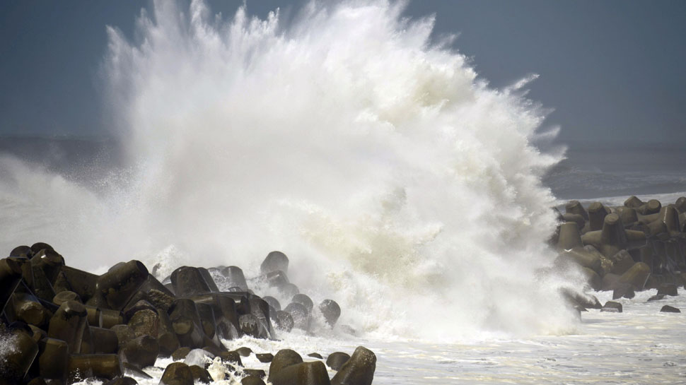 A strong typhoon Jebi as the storm churned north towards the islands