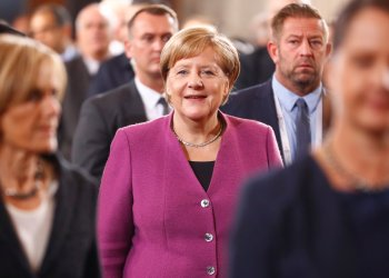 German Chancellor Angela Merkel arrives for the German Unification Day celebrations at the Berlin Cathedral in Berlin, Germany, October 3, 2018. REUTERS/Fabrizio Bensch