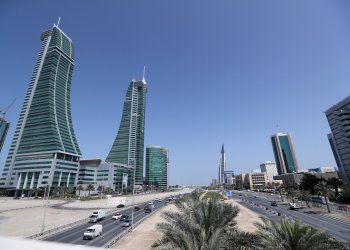 FILE PHOTO: Bahrain Financial Harbour (L) and Bahrain World Trade Center are are seen in the diplomatic area in Manama, Bahrain, February 28, 2018. REUTERS/Hamad I Mohammed/File Photo