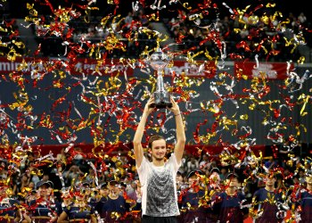 Tennis - Japan Open Men's Singles finals - Musashino Forest Sport Plaza, Tokyo, Japan - October 7, 2018 Daniil Medvedev of Russia holds his trophy after winning against Kei Nishikori of Japan. REUTERS/Kim Kyung-Hoon