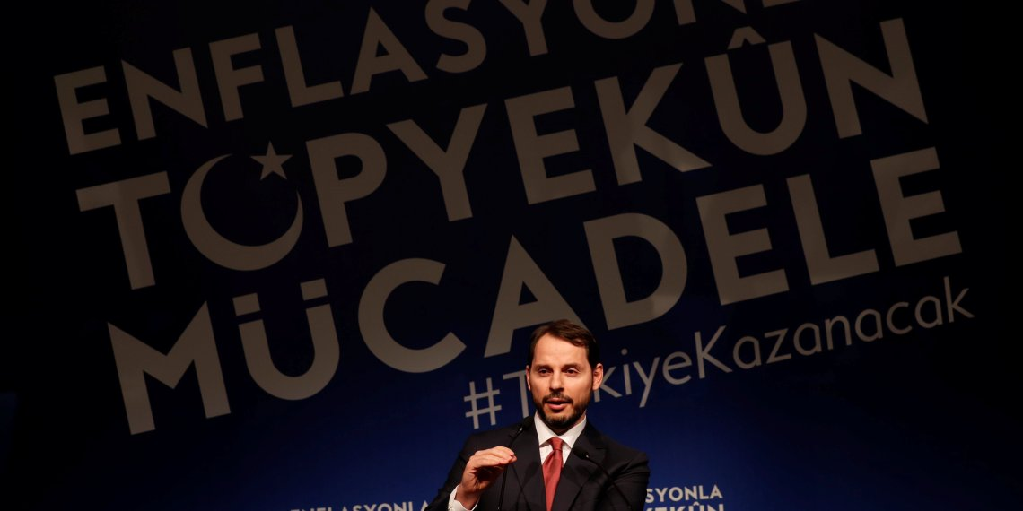 Turkish Finance Minister Berat Albayrak speaks during an event to announce his programme to fight inflation, in Istanbul, Turkey October 9, 2018. REUTERS/Murad Sezer