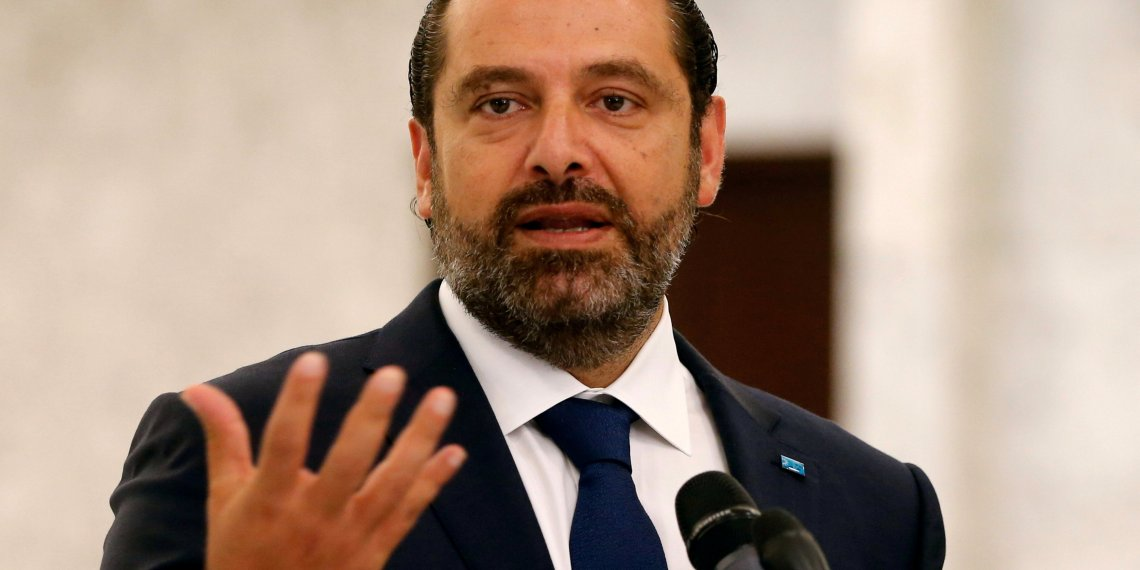 FILE PHOTO: Lebanese Prime Minister-designate Saad al-Hariri looks on as he speaks at the presidential palace in Baabda, Lebanon September 3, 2018. REUTERS/Mohamed Azakir