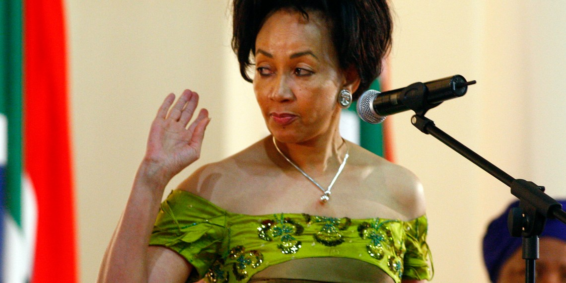 FILE PHOTO: Former housing minister Lindiwe Sisulu is sworn in as the new defence minister at the presidential guest house in Pretoria, May 11,2009. REUTERS/Siphiwe Sibeko