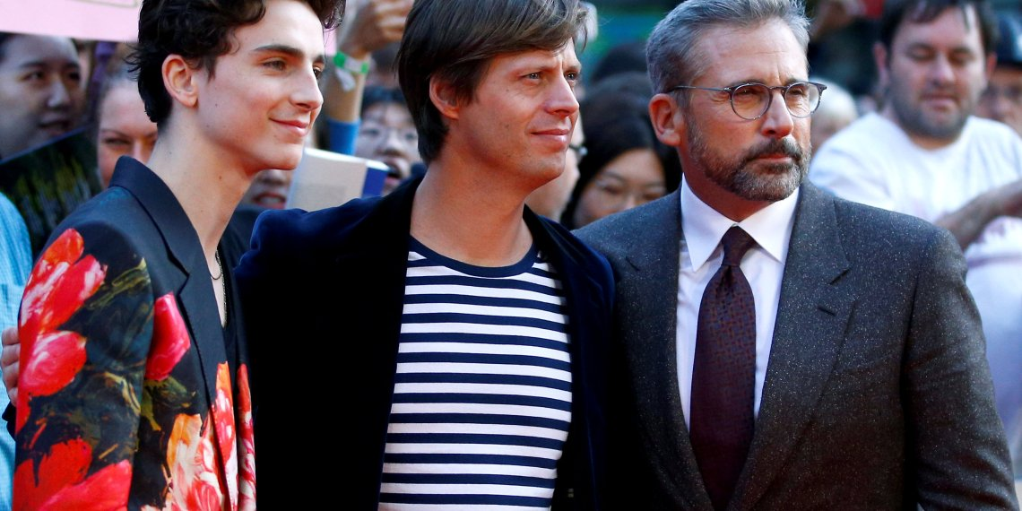 """Director Felix van Groeningen and cast members Timothee Chalamet and Steve Carell arrive for the UK premiere of """"Beautiful Boy"""" during the London Film Festival, in London, Britain October 13, 2018. REUTERS/Henry Nicholls"""