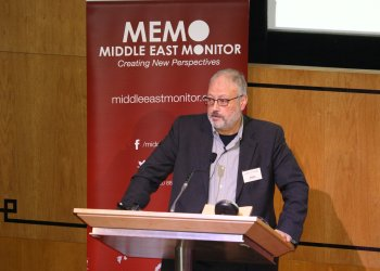 FILE PHOTO: Saudi dissident Jamal Khashoggi speaks at an event hosted by Middle East Monitor in London Britain, September 29, 2018. Middle East Monitor/Handout via REUTERS