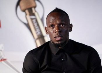 Retired sprinter Usain Bolt attends a news conference after a zero gravity conditions flight in a specially modified plane above Reims, France, September 12, 2018. REUTERS/Benoit Tessier