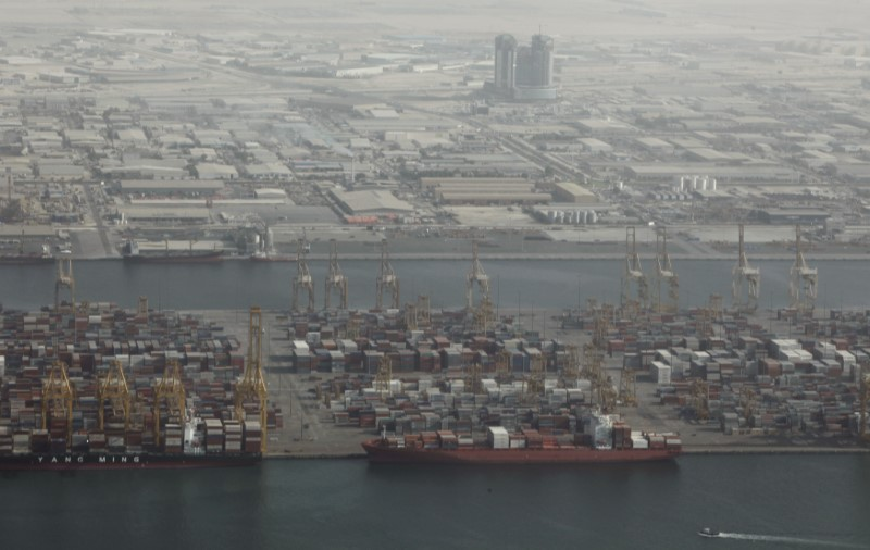 FILE PHOTO: An aerial view of Jebel Ali Port in Dubai October 25, 2010. REUTERS/Ahmed Jadallah