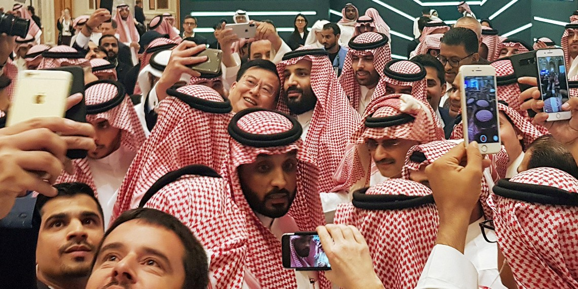 FILE PHOTO: Saudi Arabia's Crown Prince Mohammed bin Salman poses for a selfie during the Future Investment Conference in Riyadh, Saudi Arabia. October 23, 2018. REUTERS/Stephen Kalin