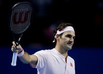 Tennis - ATP 500 - Basel Open - St. Jakobshalle, Basel, Switzerland - October 27, 2018 Switzerland's Roger Federer celebrates winning his semi final match against Russia's Daniil Medvedev REUTERS/Moritz Hager