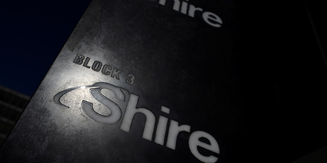FILE PHOTO: Shire branding is seen outside their offices in Dublin, Ireland, April 25, 2018. REUTERS/Clodagh Kilcoyne