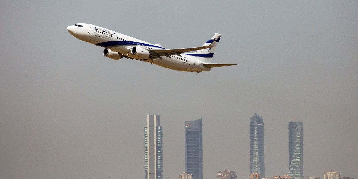 FILE PHOTO: An El Al Israel Airlines Boeing 737-900ER airplane takes off from the Adolfo Suarez Madrid-Barajas airport as seen from Paracuellos del Jarama, outside Madrid, Spain, August 8, 2018.  REUTERS/Paul Hanna