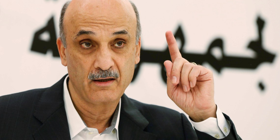 FILE PHOTO: Samir Geagea, leader of the Christian Lebanese Forces, speaks during an interview with Reuters at his home in the Christian village of Maarab in the mountains overlooking the seaside town of Jounieh, October 31, 2014. REUTERS/Mohamed Azakir