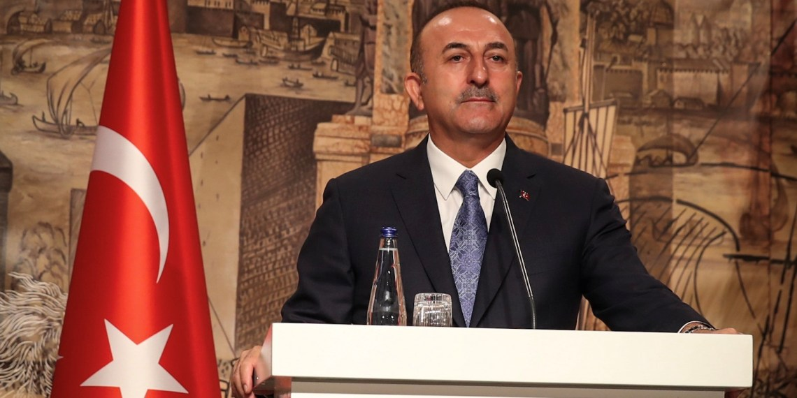 Turkish Foreign Minister Mevlut Cavusoglu speaks during a news conference in Istanbul, Turkey October 29, 2018. Cem Ozdel/Turkish Foreign Ministry/Handout via REUTERS ATTENTION EDITORS - THIS PICTURE WAS PROVIDED BY A THIRD PARTY. NO RESALES. NO ARCHIVE.