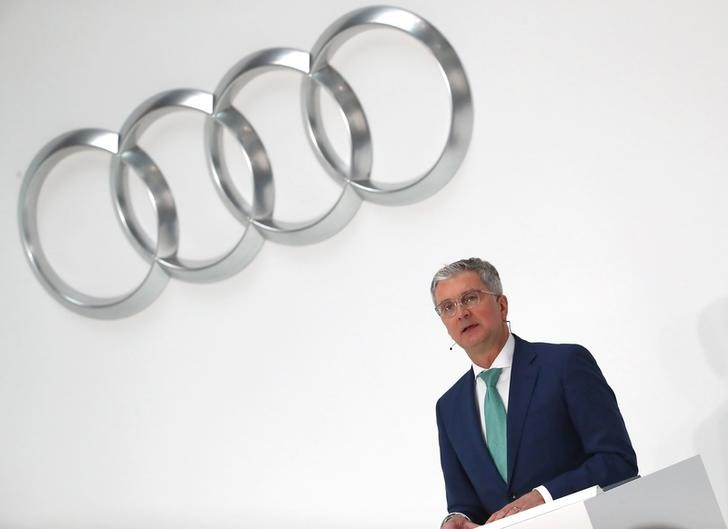 FILE PHOTO: Audi CEO Rupert Stadler speaks during the company's annual news conference in Ingolstadt, Germany March 15, 2018. REUTERS/Michael Dalder/File Photo