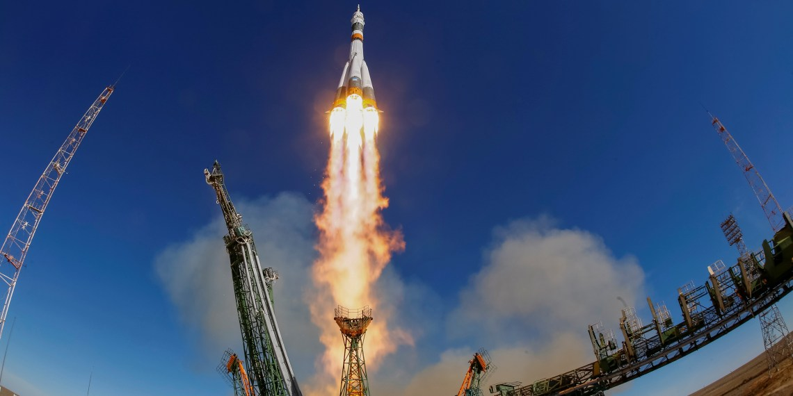 FILE PHOTO: The Soyuz MS-10 spacecraft carrying the crew of astronaut Nick Hague of the U.S. and cosmonaut Alexey Ovchinin of Russia blasts off to the International Space Station (ISS) from the launchpad at the Baikonur Cosmodrome, Kazakhstan October 11, 2018. REUTERS/Shamil Zhumatov/File Photo