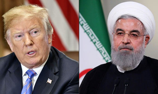 This combination of file photos created on July 23, 2018 shows US President Donald Trump speaks during a cabinet meeting on July 18, 2018, at the White House in Washington, DC; and a handout photo provided by the Iranian presidency shows President Hassan Rouhani giving a speech on Iranian TV in Tehran. (AFP)