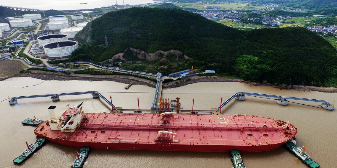 FILE PHOTO: An oil tanker is seen at a crude oil terminal in Ningbo Zhoushan port, Zhejiang province, China May 16, 2017. REUTERS/Stringer/File Photo