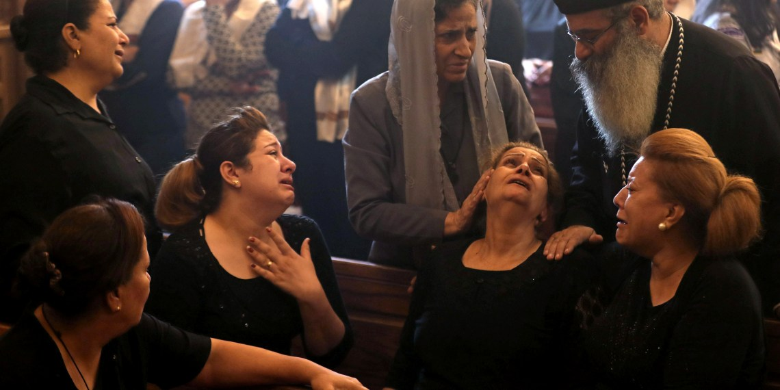 Mourners gather at Prince Tadros Church for the funeral of Coptic Christians who were killed in an attack, in Minya, Egypt November 3, 2018. REUTERS/Mohamed Abd El Ghany