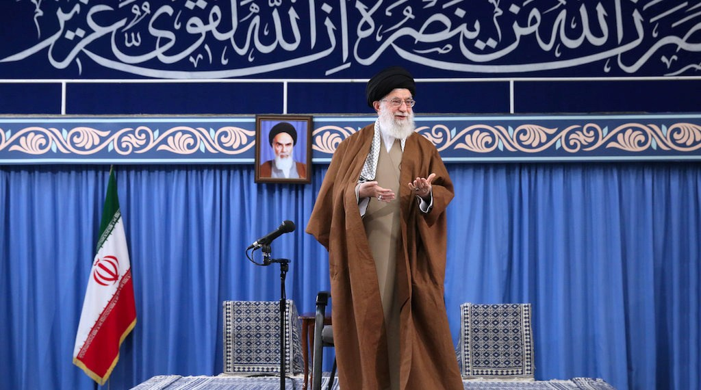 Iran's Supreme Leader Ayatollah Ali Khamenei, speaks during a meeting with students at the Hussayniyeh of Imam Khomeini in Tehran, Iran, November 3, 2018. Official Khamenei website/Handout via REUTERS