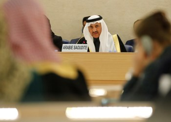 President of the Human Rights Commission of Saudi Arabia Bandar al Aiban, attends the Universal Periodic Review of Saudi Arabia by the Human Rights Council at the United Nations in Geneva, Switzerland, November 5, 2018. REUTERS/Denis Balibouse