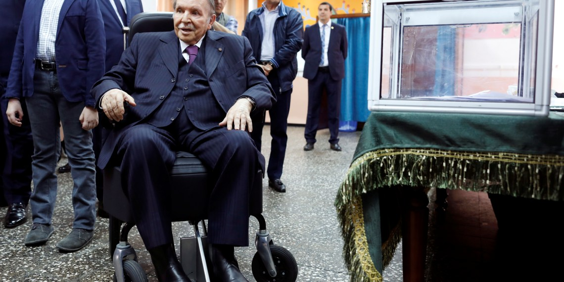 FILE PHOTO: Algeria's President Abdelaziz Bouteflika looks at journalists after casting his ballot during the parliamentary election in Algiers, Algeria, May 4, 2017. REUTERS/Zohra Bensemra
