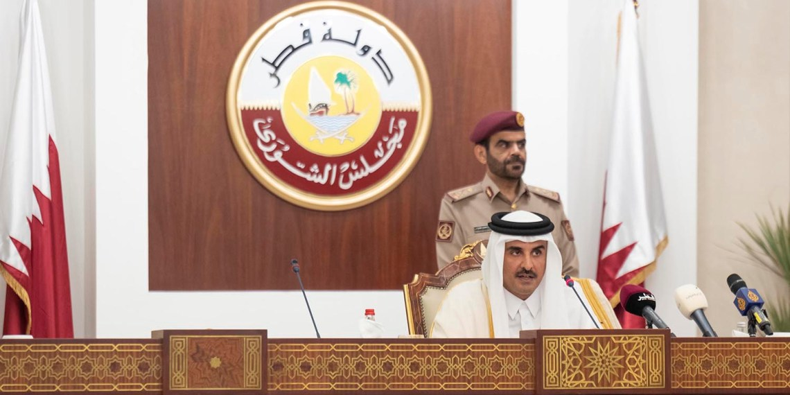 Qatar's Emir Sheikh Tamim bin Hamad al-Thani speaks to the country's consultative Shoura council in Doha, Qatar, November 6, 2018. Qatar News Agency/Handout via REUTERS ATTENTION EDITORS - THIS PICTURE WAS PROVIDED BY A THIRD PARTY.