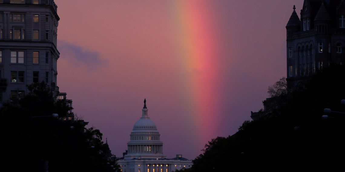 A rainbow forms over the U.S. Capitol as evening sets on midterm Election Day in Washington, U.S. November 6, 2018. REUTERS/Jonathan Ernst