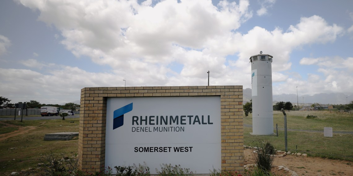 A corporate logo is seen outside the Rheinmetall Denel munitons plant near Cape Town, South Africa, November 6, 2018. REUTERS/Mike Hutchings
