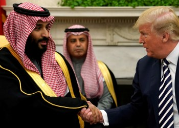 FILE PHOTO: U.S. President Donald Trump shakes hands with Saudi Arabia's Crown Prince Mohammed bin Salman in the Oval Office at the White House in Washington, U.S. March 20, 2018. REUTERS/Jonathan Ernst