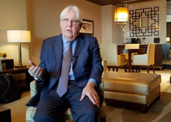 FILE PHOTO: United Nations Special Envoy to Yemen Martin Griffiths sepaks during an interview with Reuters in Abu Dhabi, UAE, October 4, 2018. REUTERS/Stephen Kalin