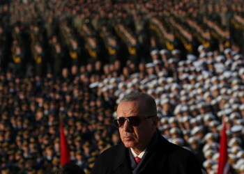 FILE PHOTO: Turkish President Tayyip Erdogan attends a ceremony as he is flanked by top officials and army officers at the mausoleum of Mustafa Kemal Ataturk, marking Ataturk's death anniversary, in Ankara, Turkey November 10, 2018. REUTERS/Umit Bektas