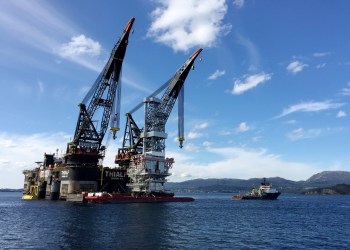 FILE PHOTO: A general view of the drilling platform, the first out of four oil platforms to be installed at Norway's giant offshore Johan Sverdrup field during the 1st phase development, near Stord, western Norway September 4, 2017. REUTERS/Nerijus Adomaitis